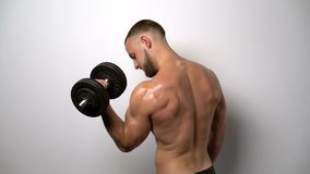 Shirtless muscular man training with Resistance Band stock video footage