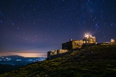 Slow motion view of the night sky. From the highest peak in the Balkan peninsula - Musala, Rila mountain, Bulgaria stock photos