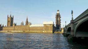 Palace of Westminster and Big Ben during renovation stock footage
