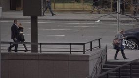Slow Motion view of pedestrians and cars in NYC (1 of 9) stock video footage