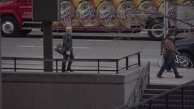 Slow Motion view of pedestrians and cars in NYC (3 of 9) stock video
