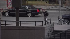 Slow Motion view of pedestrians and cars in NYC (4 of 9) stock video