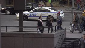 Slow Motion view of pedestrians and cars in NYC (8 of 9) stock video footage