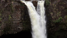 Slow Motion Waterfall Cascading Down Hilo Hawaii. Slow Motion Water Coming Down Tropical Waterfall Hawaii stock video