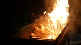 Slow motion. wooden logs burning in a brazier in the street stock video