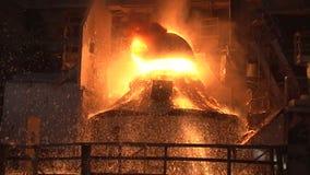 Slow motion. working basic oxygen furnace stock footage
