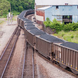 Slow moving Coal wagons Stock Photo
