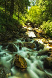 Slow Moving River. Slow motion river flows over boulders and rocks in the Wastch National Forest in Utah USA Royalty Free Stock Images