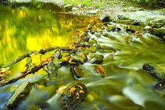 Slow moving stream in fall. A slow moving stream in the Smoky Mountains in fall Royalty Free Stock Images