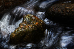 A slow moving stream. With rock Stock Photo