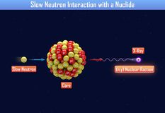 Slow Neutron Interaction with a Nuclide. 3d illustration Stock Photography
