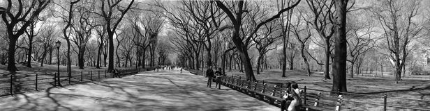 Slow New York Minute. New York doesn't look so fast here. Central Park in late fall. Park goers are having a quite, relaxed day. There's no rush, and no sign of Royalty Free Stock Photo