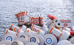 Slow No Wake Zone Buoys Royalty Free Stock Photos