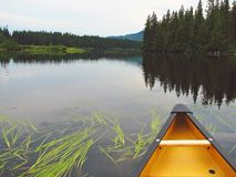 Slow Paddle. Leisurely paddle on our canoe journey, Duncan Lake, Northern Ontario, Canada Stock Photo