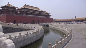 Slow pan of courtyard in Forbidden City