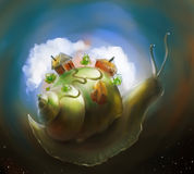Slow and peaceful life. Digital art of a little fantasy world on the back of a giant snail slowly travelling among the stars. There are just three houses, some Royalty Free Stock Images