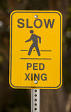 Slow Ped Crossing Yellow Sign Royalty Free Stock Image