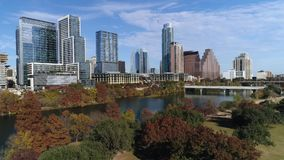 Slow push forward aerial view of Austin city skyline