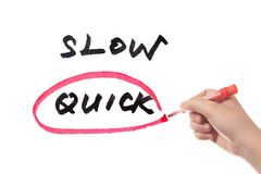 Slow or quick. Choosing from Slow and quick, hand sketching on white board Royalty Free Stock Photography