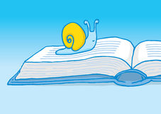 Slow reader or snail crawling on book Stock Images
