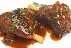 Slow Roasted Lamb Shanks Royalty Free Stock Photos