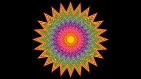 Slow rotating variegated star on black background. Rosette in vivid colors vector illustration