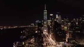 Slow rotation around Lower Manhattan skyline stock video footage
