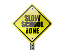 Slow school zone. Yellow warning street sign over white background Royalty Free Stock Image