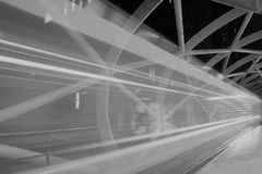Slow shutter moving tram in tramway Beatrix Kwartier, Netkous - black and white Royalty Free Stock Photography