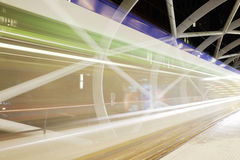 Slow shutter moving tram in tramway Beatrix Kwartier, Netkous. Color Royalty Free Stock Photography