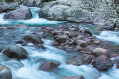 Slow shutter photo of Figarella river at Bonifatu in Corsica Royalty Free Stock Photos
