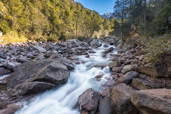 Slow shutter photo of Figarella river at Bonifatu in Corsica Royalty Free Stock Photography