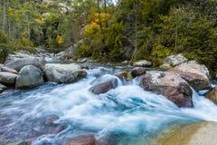 Slow Shutter Photo Of Figarella River At Bonifatu In Corsica Stock Photo