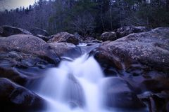 Slow Shutter Photography of a River Waterfall in the Woods of the Great Smokey Mountains National Park. Slow Shutter Photography of a River Waterfall in the Royalty Free Stock Photos