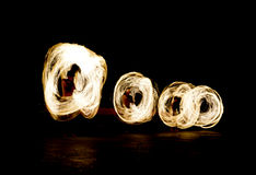 Slow shutter speed of fire show Stock Image