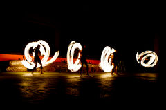 Slow shutter speed of fire show. Slow shutter speed of fire show Stock Images