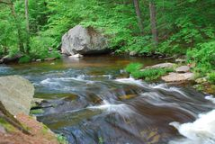 Slow shutter speed image of stream rushing through a rocky creek bed. Green grass and trees, brown rocks in stream, creek, strong image of movement Stock Photography