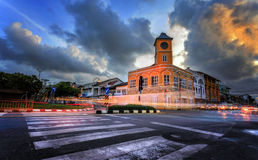 Slow shutter speed Page Clock Tower intersection Chartered. Royalty Free Stock Photo