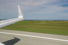 Slow shutter view showing plane take off Royalty Free Stock Photography
