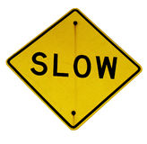 Slow sign. Yellow traffic slow sign isolated Royalty Free Stock Photo