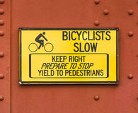 Slow Sign for Bikers Royalty Free Stock Photo