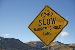Slow Sign for Bikers Stock Image