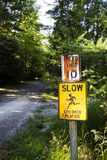 Slow sign. In Mt Desert campground stock images