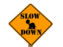 Slow sign with turtle silhouette. Sign warning to slow down isolated with clipping path at this size royalty free stock photography