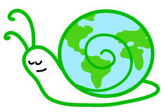 Slow slug-earth. Stylized globe in the shape of a slow snail. Vector illustration Royalty Free Stock Photography