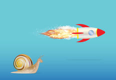 Slow snail and speed rocket Royalty Free Stock Image