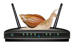 Slow speed router with snail Stock Photo