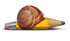 Slow Strategy. Business concept and planning delays metaphor with a snail shaped as a pencil as a symbol of sluggish progress and procrastination of plans and Royalty Free Stock Photo