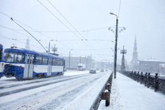 Slow traffic during heavy snow storm Stock Photography