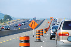 Slow traffic / Highway construction Stock Photos